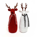DEER WITH SCARF 2 ASSORTED RED/WHITE 3.5