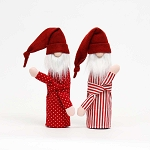 RED SLEEPY SANTA BOTTLE COVER 2 ASSORTED DOTS/STRIPES 5