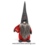 TOMTE GNOME WITH DARK GREY SNOWFLAKE HAT, WOOD NOSE AND RED BAG LARGE 8