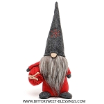 TOMTE GNOME WITH DARK GREY SNOWFLAKE HAT 11