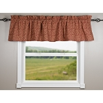 Red Vine Print With Ticking Barn Red Valance