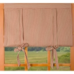York Ticking Roll Tie Valance Barn Red - Nutmeg