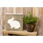 7.88 x 7.88 Wooden Sign with Cable Knit Bunny