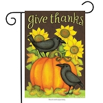 Give Thanks Crows Garden Flag