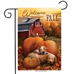 Welcome Fall Puppies Garden Flag
