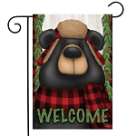 Woodsy Bear Welcome Garden Flag