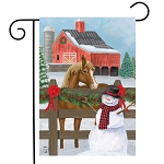 Snowy Stable Garden Flag