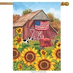Sunflower Barn House Flag