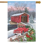 Winter Covered Bridge House Flag