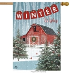 Winter Barn House Flag