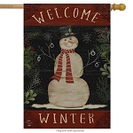 Welcome Winter Snowman House Flag