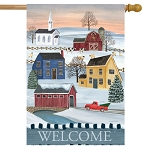 Winter Saltboxes House Flag