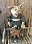 Standing Girl Pig with Basket and Chick Handmade