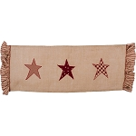 Patriotic Star Table Runner Burlap