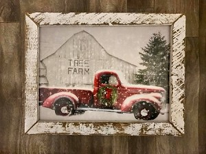 Tobacco Lath Framed Artwork Red Truck and Barn 15