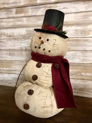 Handmade Primitive Snow Man with Top Hat 17
