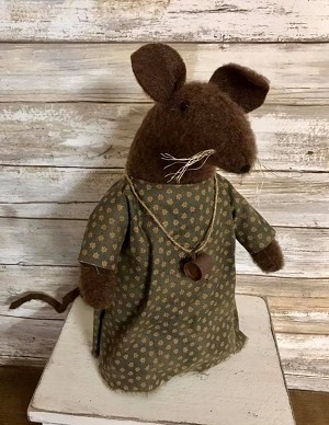 Handmade Mouse in Dress with Watering Can Necklace 11