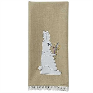 Folk Bunny Applique Dishtowel