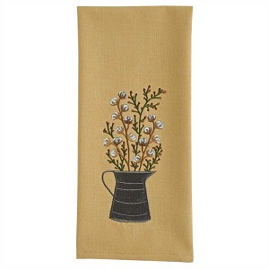 Cotton Blossoms Embroidered Dishtowel