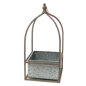METAL PORTICO SQUARE HANGING PLANTER 8.5