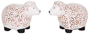 Ceramic Shabby Sheep Salt & Pepper Set
