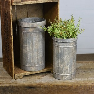 TALL GALVANIZED WHITE WASH CANS 10