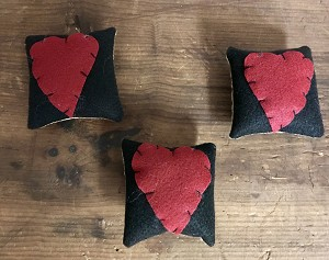 Handmade Set of 3 Black Heart Pillows