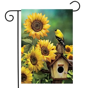 Goldfinch and Sunflowers Garden Flag