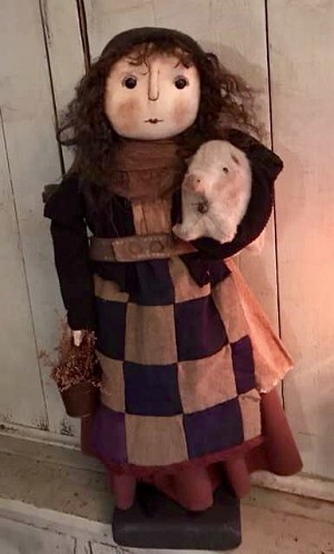 Handmade Doll Holding a Pig by Bearing In Love 24