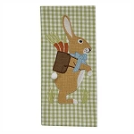 Burlap Bunny Embroidered Applique Dishtowel