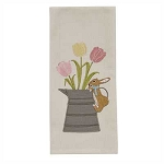 Burlap Bunny and Tulips Embroidered Applique Dishtowel