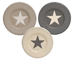 Distressed Star Plates - Stoneware Colors, 3 asst.