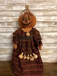 Handmade Rugged Chic Pumpkin Girl on Stand 25
