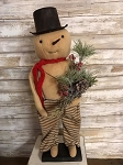 Handmade Snowman on Stand with Greens 21