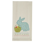 Bunny & Basket Applique Dishtowel