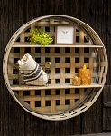Basket Weave Two-Level Round Wall Shelf