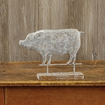 PIG WEATHERVANE ON WOOD BASE