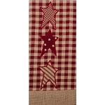 Patriotic Star Towel Heritage House Check - Barn Red