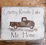 Handmade Country Roads Take Me Home Red Truck Sign 12