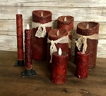 Red Burgundy Moving Flame Candles Battery Operated Timer Flameless