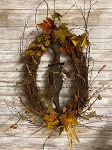 Handmade Primitive Crow Fall Grapevine Wreath