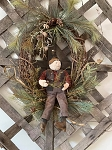 Handmade Primitive Holiday Grapevine Wreath with Greens and Snowman
