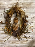 Handmade Primitive Pumpkin Witch Doll Fall Grapevine Wreath