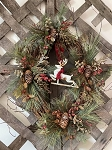 Handmade Primitive Holiday Grapevine Wreath with Greens and Reindeer