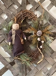 Handmade Primitive Holiday Grapevine Wreath with Winter Thyme Snowman
