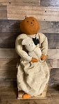 Handmade Pumpkin Doll Holding Ghost with Bat