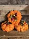 Handmade Chenille Orange Pumpkins with Leaves 7