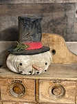 Handmade Snowman Head with Top Hat Primitive 7