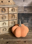 Handmade Ribbed Orange Pumpkin with Real Stem 8