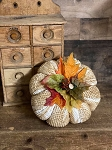 Handmade Chenille White Pumpkins with Leaves 7